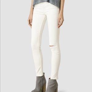 All Saints Mast Slash White Jeans